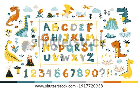 Dino collection with alphabet and numbers. Funny comic font in simple hand drawn cartoon style. Various dinosaur characters. Colorful isolated doodles on a white background