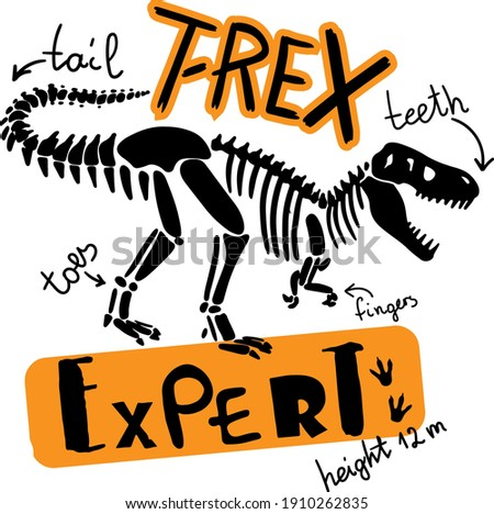 Dino expert. Typography print with dinosaur  . Original design with t-rex, dinosaur. print for T-shirts, textiles, wrapping paper, web.