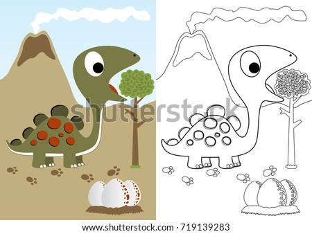 Dino Herbivore With Eggs Vector Cartoon Coloring Page Or Book