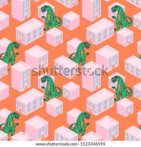 dino monster in a pink city