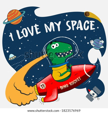 dino play with his rocket toy with the tittle I Love my Space. dino imagine that plying in the space. vector illustration for kids