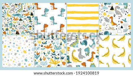 Dino Set of seamless patterns. Baby Vector illustration of funny cartoon character in a colorful palette. Doodle in a childish hand-drawn Scandinavian style