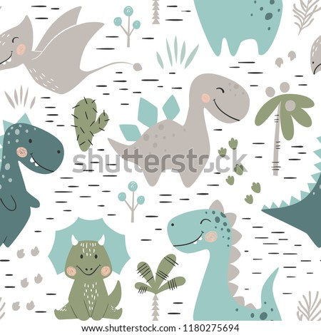 Dinosaur baby boy seamless pattern. Sweet dino with palm and cactus. Scandinavian cute print. Cool illustration for nursery t-shirt, kids apparel, invitation cover, simple child background design