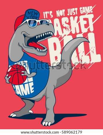 dinosaur, basketball player vector design for kids tee