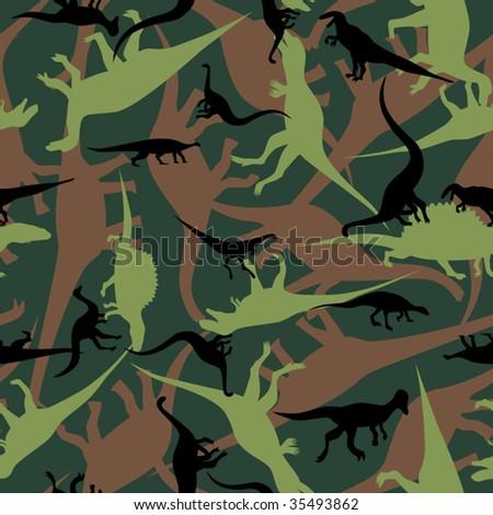 Dinosaur camouflage seamless pattern