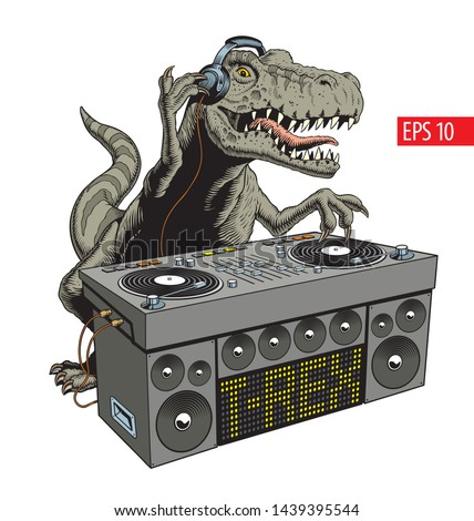 Dinosaur dj with turntable. Dino disco party comic style vector illustration.