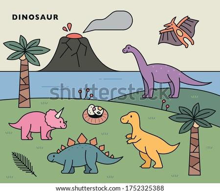 Dinosaur era background and cute dinosaurs. flat design style minimal vector illustration.