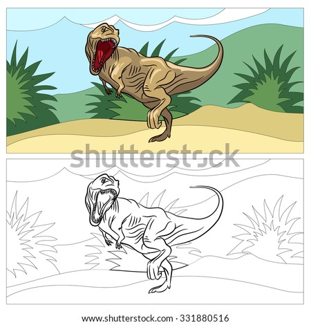 Dinosaur for coloring book. Animal reptile, prehistoric dino, drawing art, vector illustration