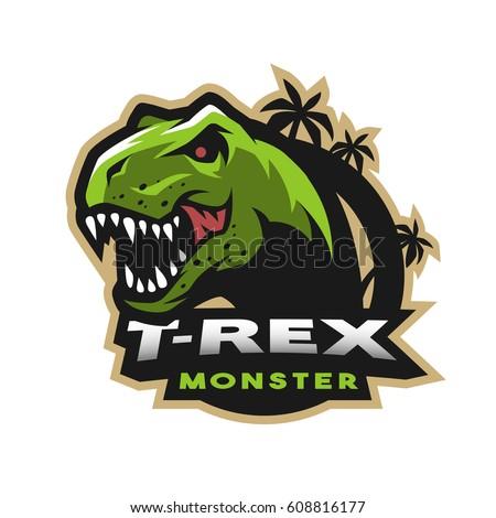 dinosaur head logo  emblem t