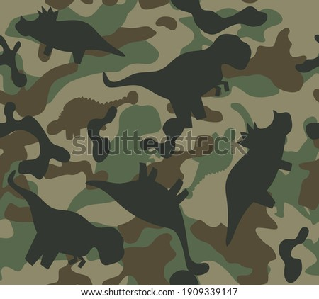 Dinosaur khaki army pattern. Camouflage seamless texture with dino in green colors.