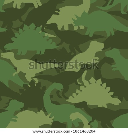 Dinosaur khaki army pattern. Camouflage seamless texture with dino in green colors. Perfect fashion print for childish fabrics and apparel. Stock foto ©