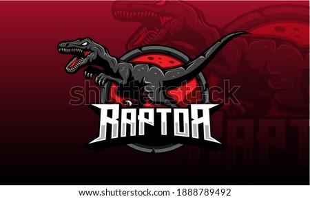 Dinosaur mascot vector. Dino raptors roar sport logo Photo stock ©