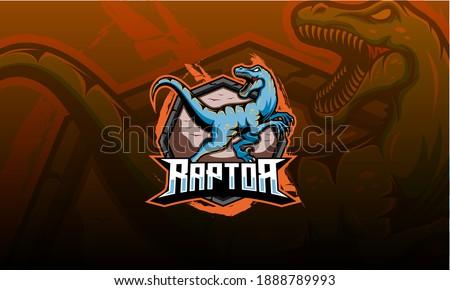 Dinosaur mascot vector. Dino raptors roar sport logo Stockfoto ©
