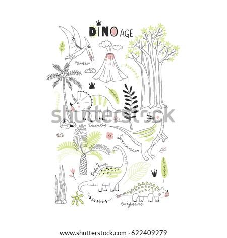 dinosaur modern graphic print