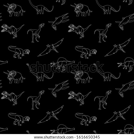 dinosaur pattern in one line drawing style. Contemporary Style