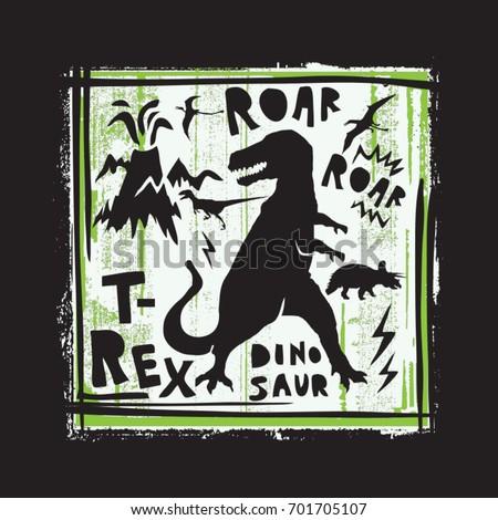 dinosaur roar illustration  tee