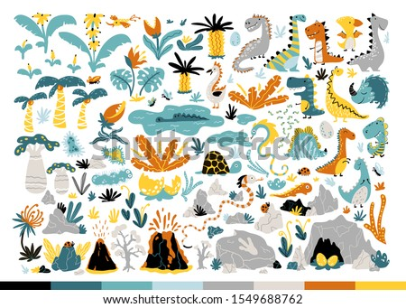 Dinosaur Set. Cute Dino and other fantastic elements of nature of the prehistoric period. Vector illustration in simple cartoon hand-drawn style.