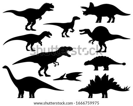 Dinosaur silhouette. Icon Jurassic Monsters T-rex Stegosaurus Triceratops Pterodactyl Spinosaurus Apatosaurus Allosaurus Carnotaurus Ankylosaurus Velociraptor. Vector group set of dino silhouettes.