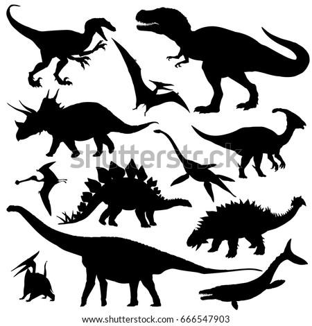 dinosaur silhouettes set