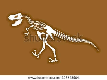 Dinosaur Skeleton Ancient Animal Bones In Ground Fossil Tyrannosaurus Archaeological Excavations Prehistoric