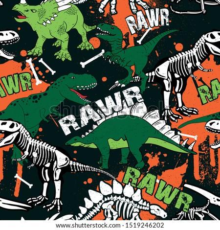 dinosaur skeleton seamless grunge pattern. Original design with t-rex, dinosaur. print for T-shirts, textiles, wrapping paper, web.