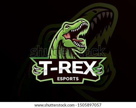 Dinosaur sport mascot logo design illustration. T-Rex Head mascot sports logo. T Rex Head mascot sports emblem illustration with hand. Tyrannosaur logo and mascot for eSport team. Sports logo template