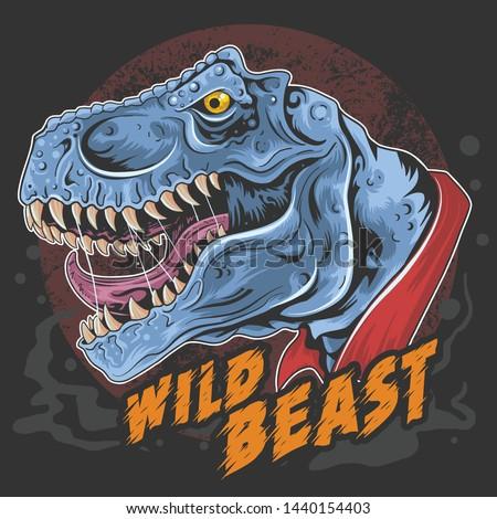 dinosaur t rex head wild beast