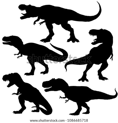 dinosaur t rex silhouettes set