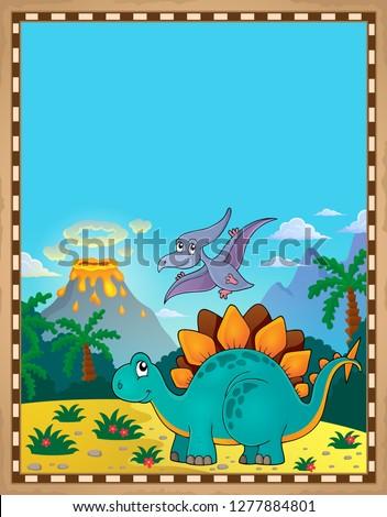 Dinosaur theme parchment 5 - eps10 vector illustration.