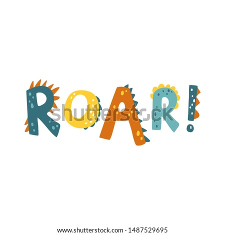 Dinosaur vector illustration in flat cartoon scandinavian style with ROAR lettering. Childish design for birthday invitation or baby shower, poster, clothing, nursery wall art and card. Foto stock ©