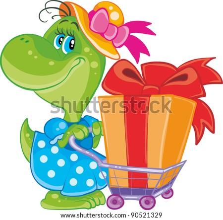 dinosaur with shopping - stock vector