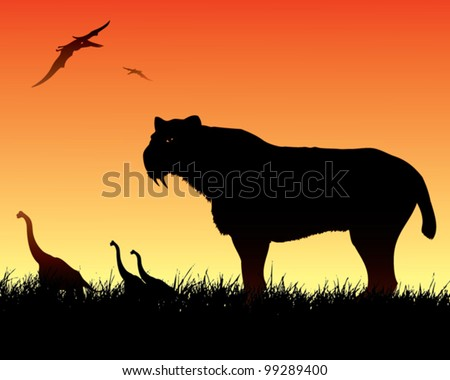 Dinosaurs background with smilodon cat - vector illustration