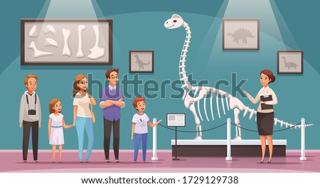 Dinosaurs cartoon composition with view of exhibition hall with dinosaur skeleton bones and characters of visitors vector illustration stock photo