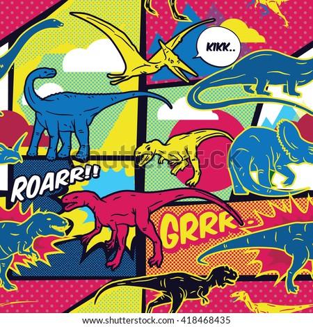 dinosaurs comic pop art style