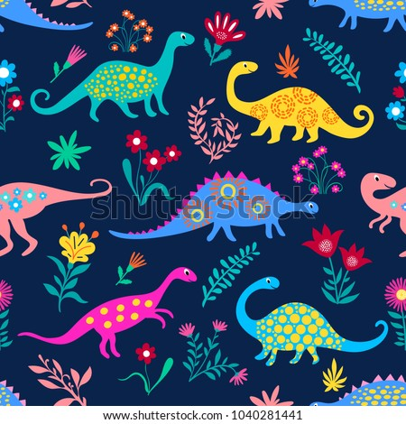 Dinosaurs Cute kids pattern for girls and boys, Colorful Cartoon Animals on the abstract Creative seamless background, Artistic Backdrop for textile and fabric.