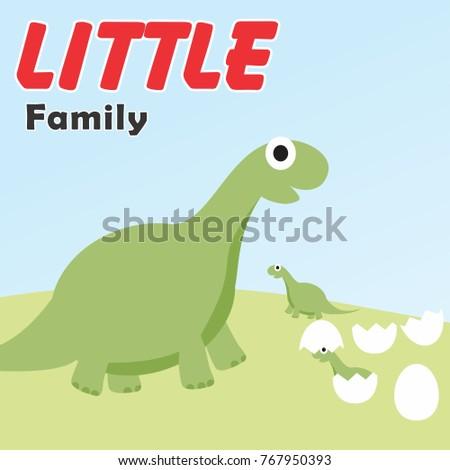 dinosaurs family vector cartoon