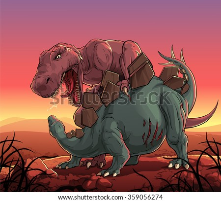 dinosaurs fight  t rex vs