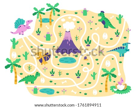 Dinosaurs kids maze. Dino mom find eggs childrens game, cute doodle dino educational jurassic park maze puzzle game, isolated vector illustration. Dinosaur in labyrinth and maze path for play