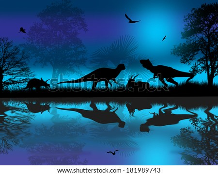 Dinosaurs silhouettes in beautiful landscape at blue night near water vector illustration