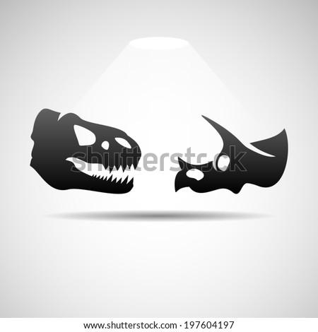 dinosaurs skulls icon eps10