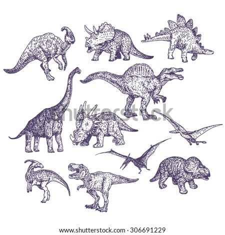 dinosaurs vector drawings set