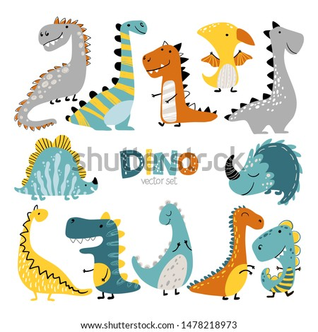 Dinosaurs vector set in cartoon scandinavian style. Colorful cute baby illustration is ideal for a children's room. Stock foto ©