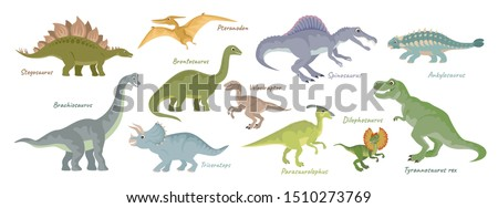 dinosaurs vector set isolated