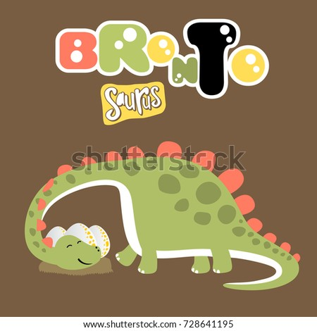 dinosaurs with his eggs  vector