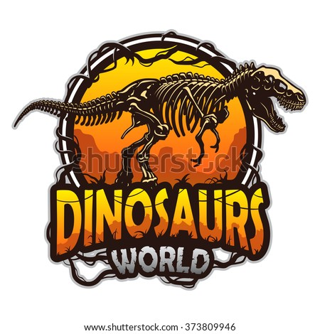 dinosaurs world emblem with