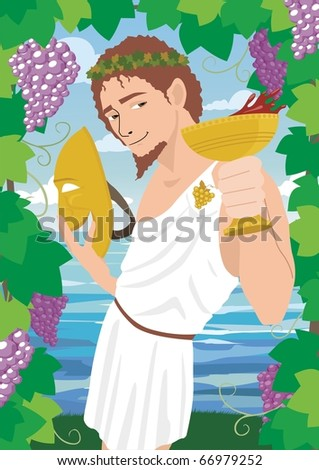 Dionysus: The god of wine Dionysus / Bacchus, proposing a toast. No transparency used.
