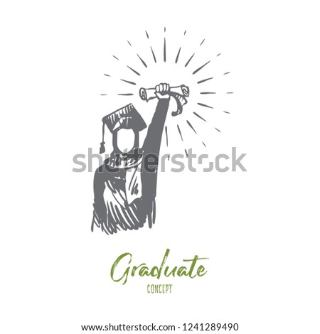 Diploma, achievement, success, graduate, Islam concept. Hand drawn muslim woman in graduate dress with diploma concept sketch. Isolated vector illustration.