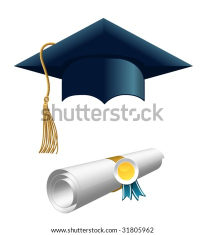 diploma and graduation cap