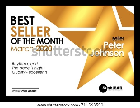 Diploma Best seller of the month design template olden muniment template with gold metal texture vector cool design frame