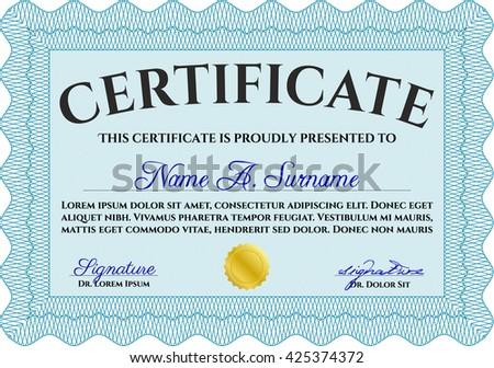 Diploma. Border, frame. Good design. With background. Light blue color.